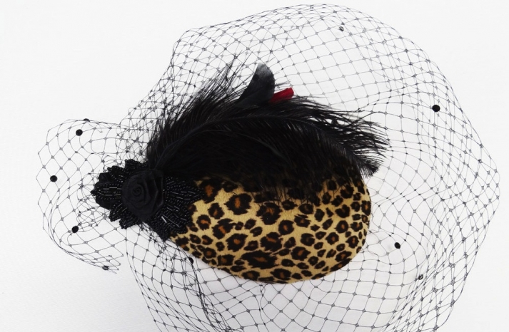 Leopard feather wedding guest hat funky glam
