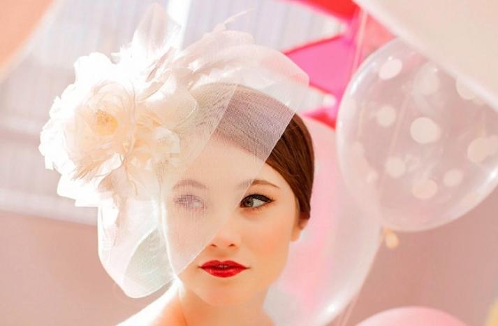 vintage wedding hat in pastel blush