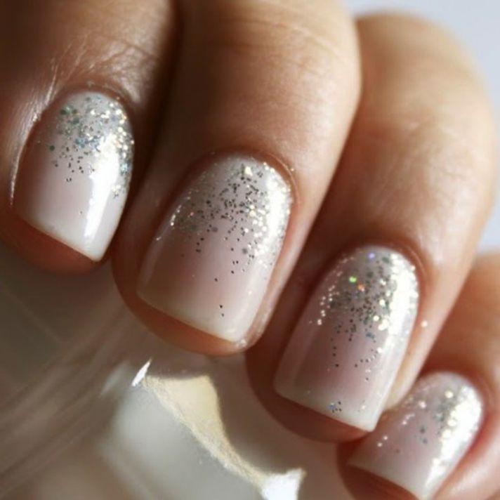 cream with glitter bridal nails