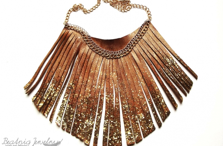 Copper fringe necklace with gold glitter