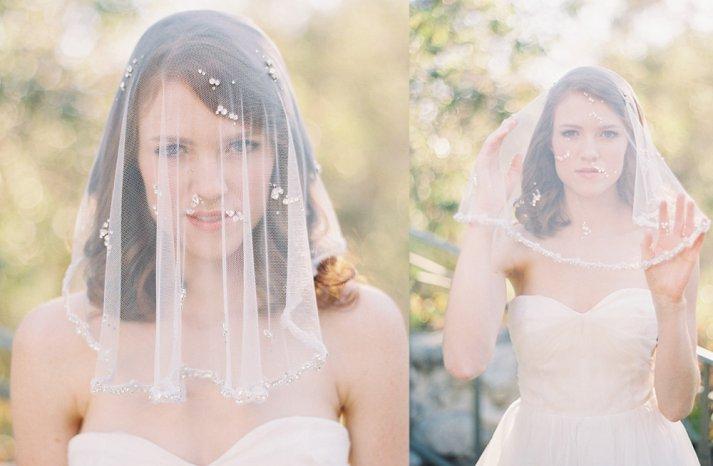 Crystal beaded bridal veil sheer tulle