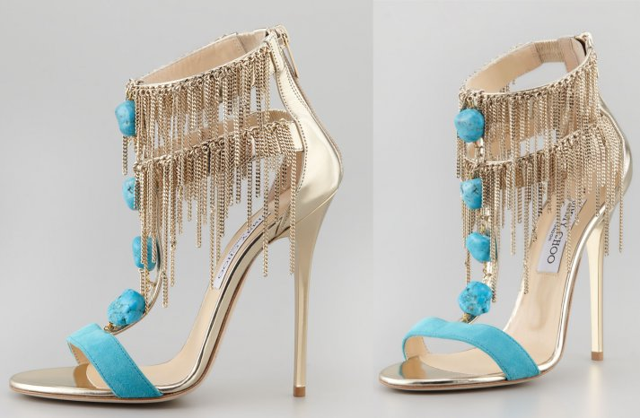 Gold and Turquoise Fringe Wedding Shoes