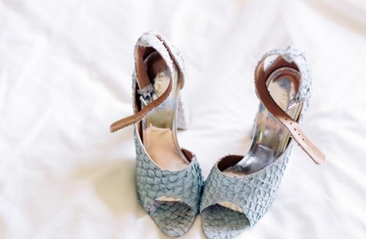 Gray Snakeskin Peep Toe Wedding Shoes