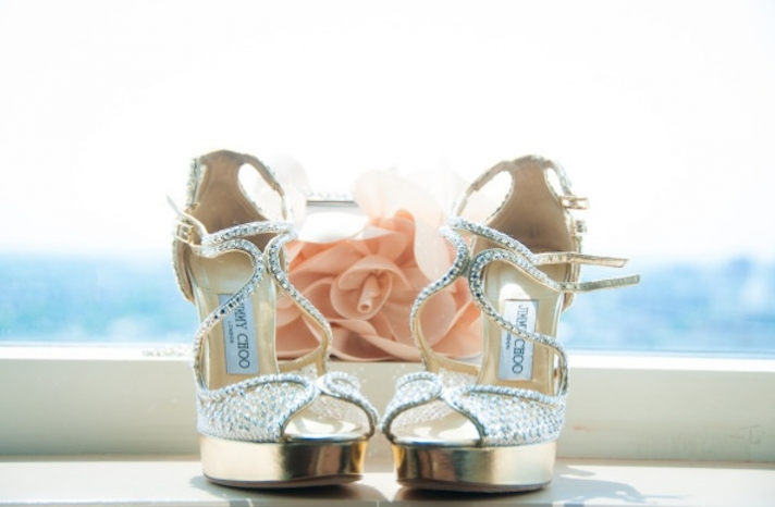Silver and Gold Platform Wedding Shoes by Jimmy Choo