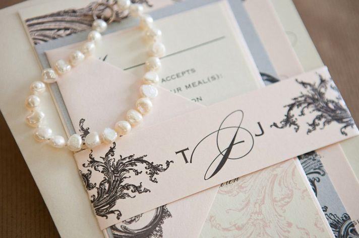 Blush Ivory Black Elegant Wedding Invitations
