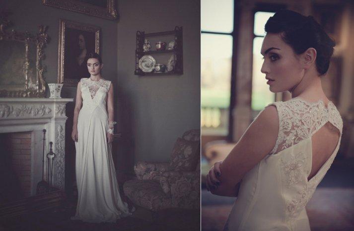 Handmade lace silk wedding dress with illusion neckline