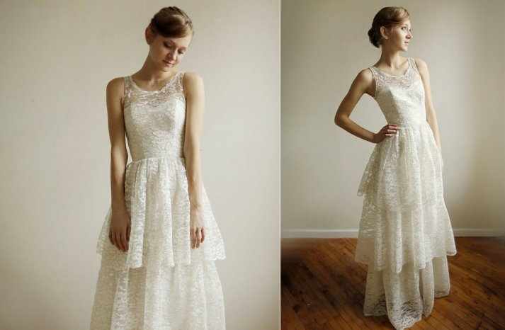 Illusion neck tiered lace wedding dress
