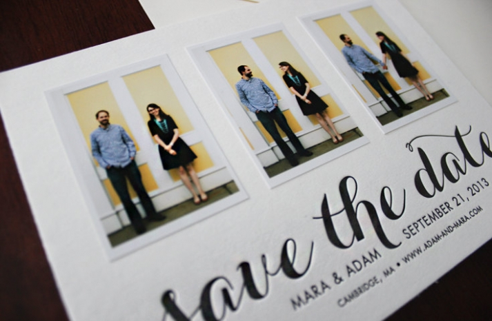 Letterpress photo wedding save the date black and white