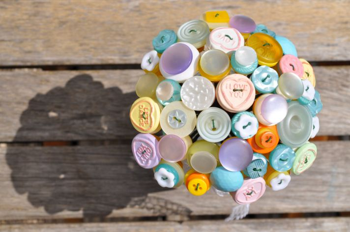 Simple and Sweet Pastel Wedding Bouquet of Buttons