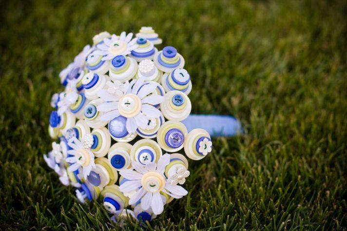 Something Blue Lemon White Button Wedding Bouquet