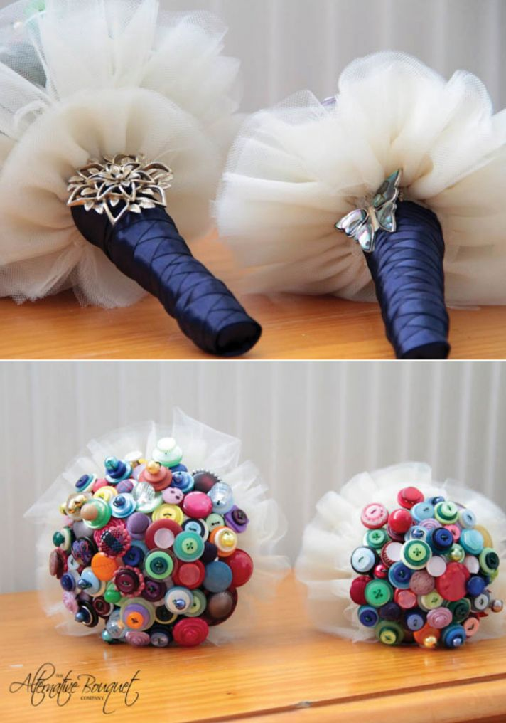 Ivory white and silver bridal button bouquet