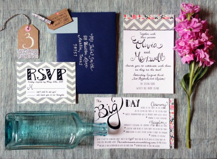 Blue And Coral Wedding Invitations: Navy + Neon Coral Wedding Color Palette To Adore