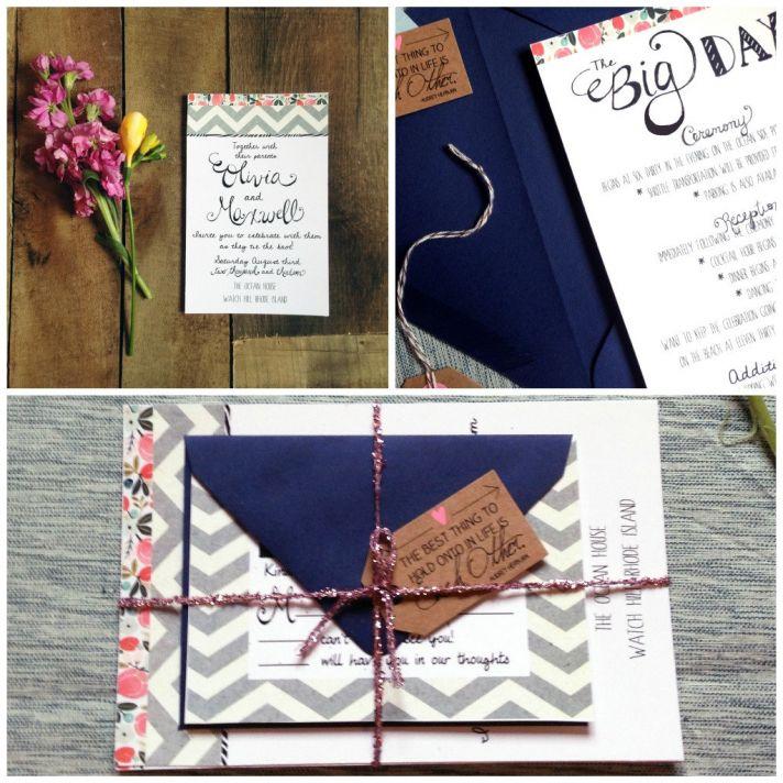 Elegant modern wedding invitations white navy gray coral
