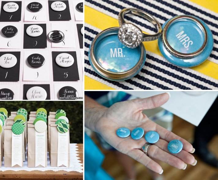 Custom buttons as wedding favors