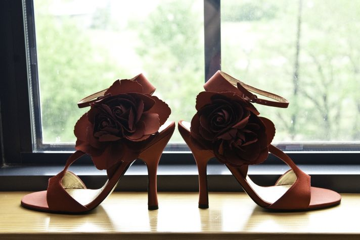 Real Wedding Classic Bridal Gown and Red Heels