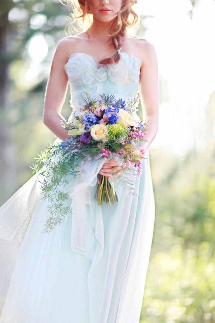 Turquoise blue wedding dress