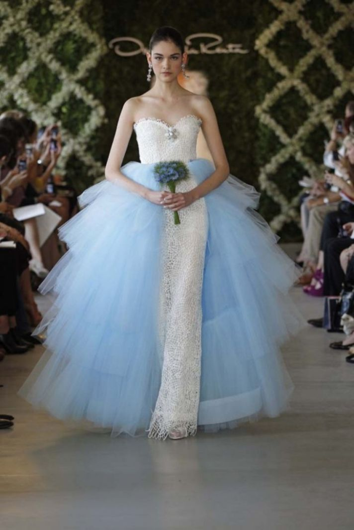 oscar de la renta bridal 2013 with detail light blue
