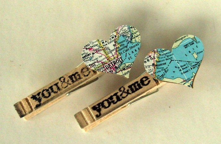 clothespins with vintage map hearts for rustic outdoor wedding