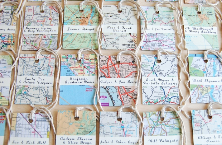 upcycled wedding escort cards vintage map tags