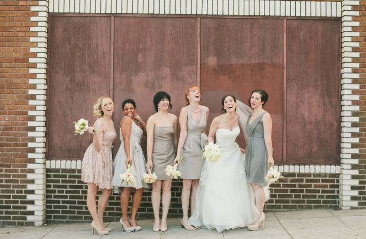 Blush and gray mix and match bridesmaids