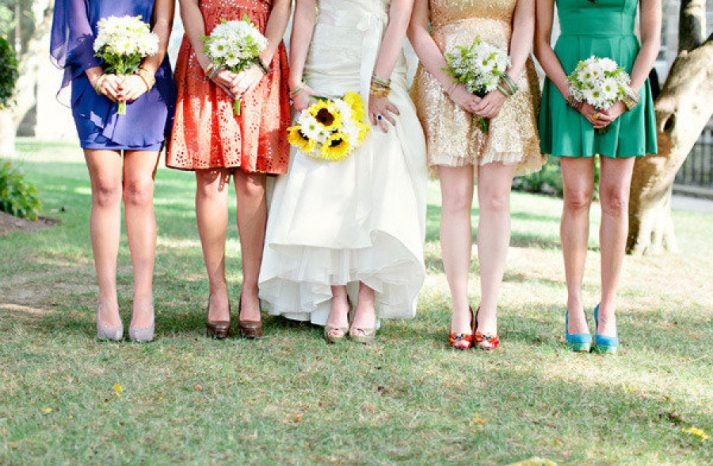 Mix and match bridesmaids gold orange violet green