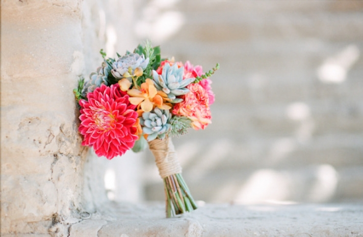 Dahlia orchid and succulent wedding bouquet