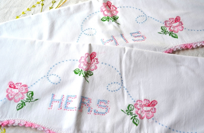 His and Hers Embroidered Hankies wedding gift ideas