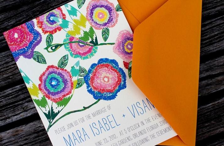 Bright botanical wedding invitation