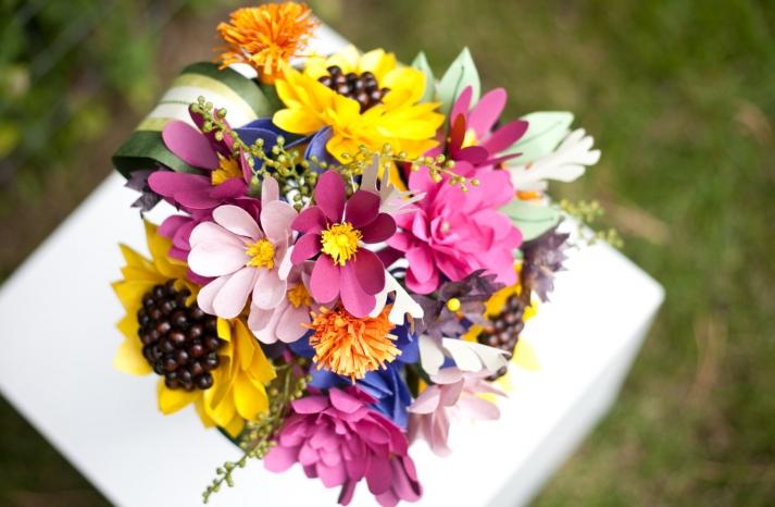 Wildflower wedding bouquet of paper blooms