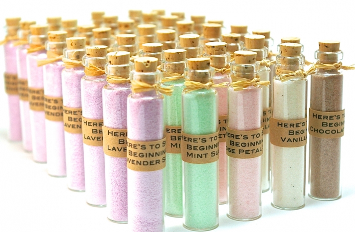 Flavored sugar in romantic pastels bottled as wedding favors