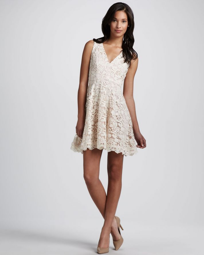 Cream crochet lace bridesmaid dress