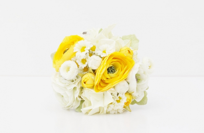 Fabric wedding bouquet yellow white