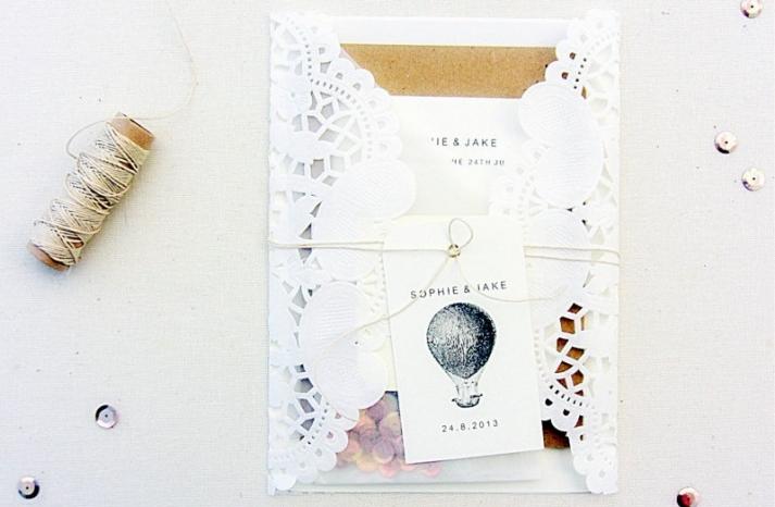 Lacy envelope vintage wedding invites