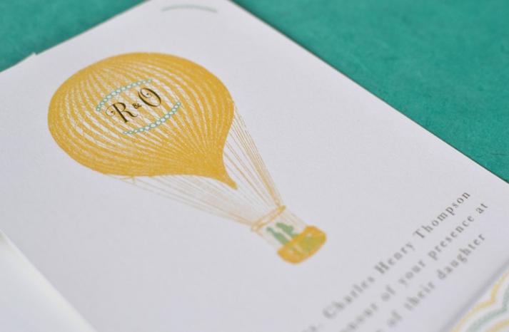 Marigold aqua white wedding invitations