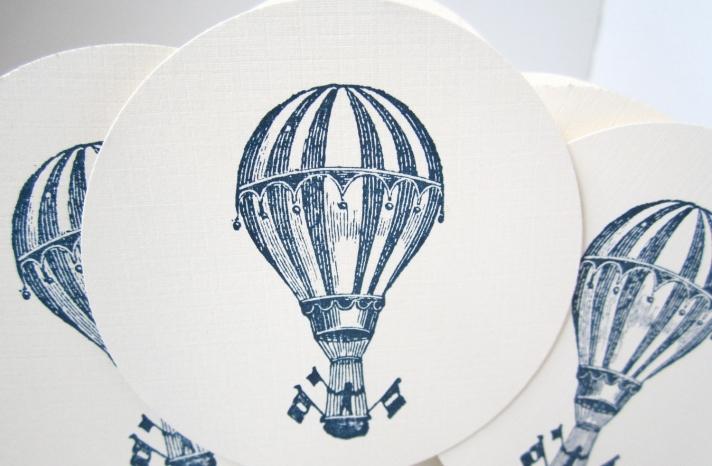 Hot air balloon wedding cupcake toppers