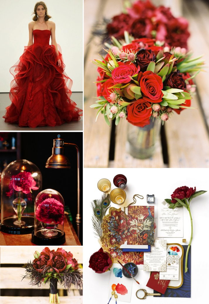 Crimson wedding color inspiration Hail Harvard