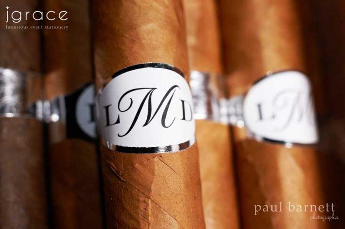 Custom wedding favors with monogram cigars