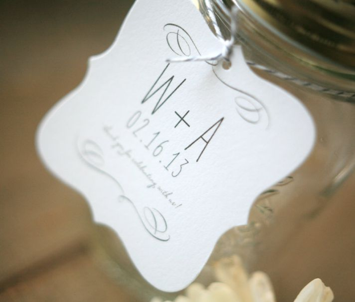 Simple wedding favor tags with custom monogram