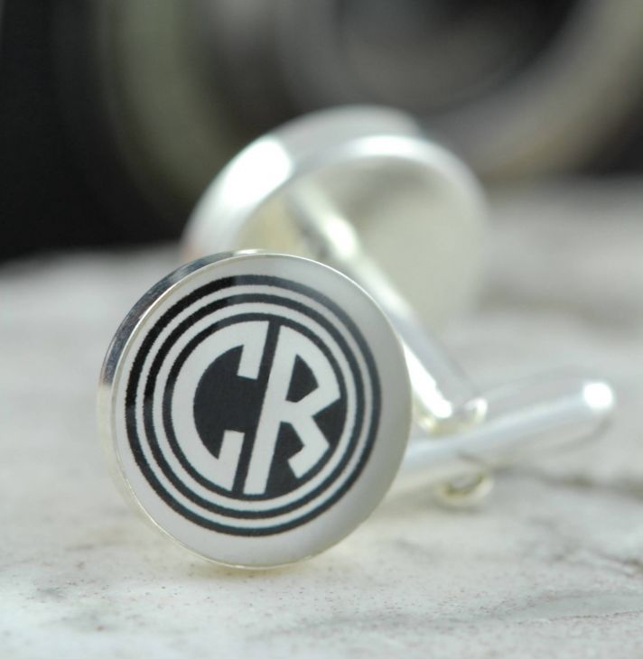 Custom monogram groom cufflinks