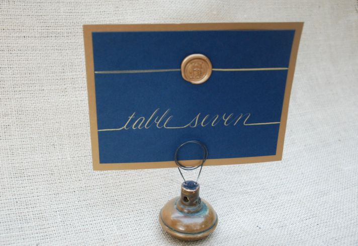 Elegant reception table numbers with wax seal