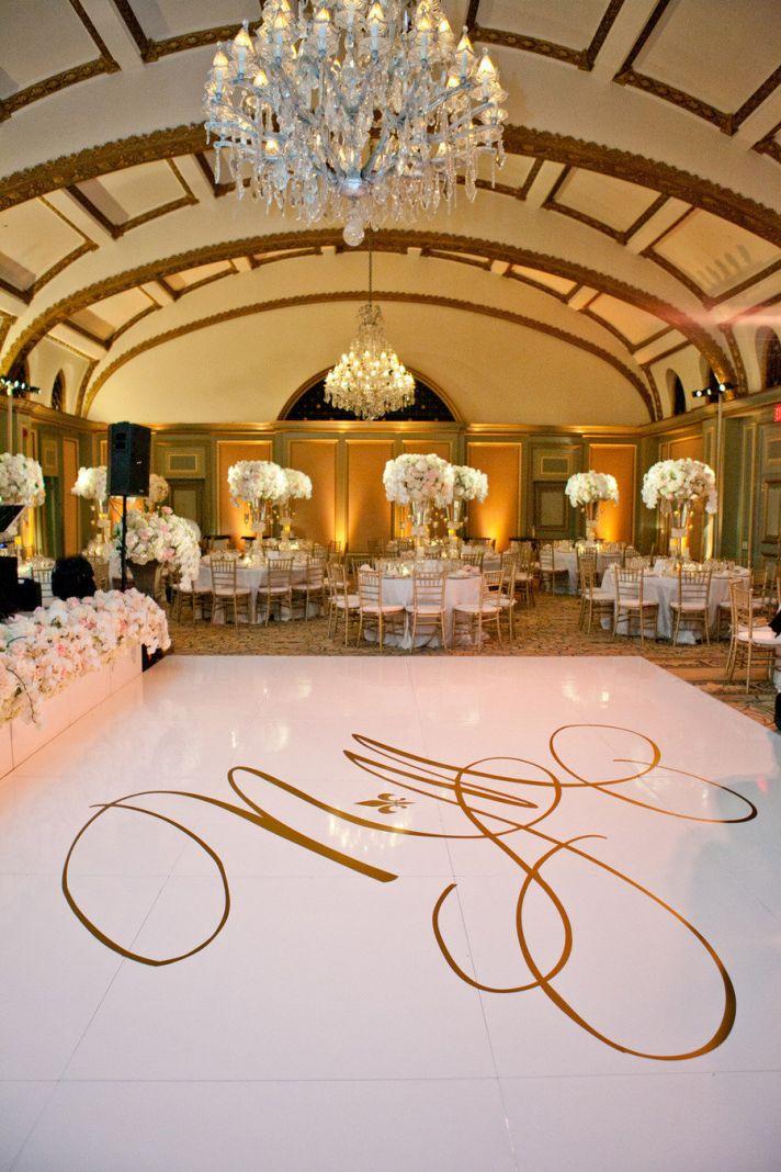 wedding monogram displayed on dance floor