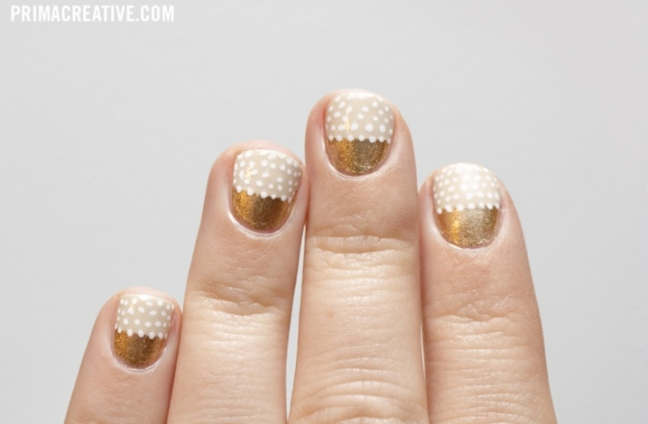 Beige white gold wedding nails with polka dots