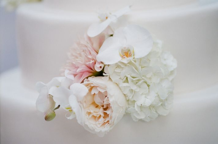 Romantic bridal bouquet pastel peach pink ivory