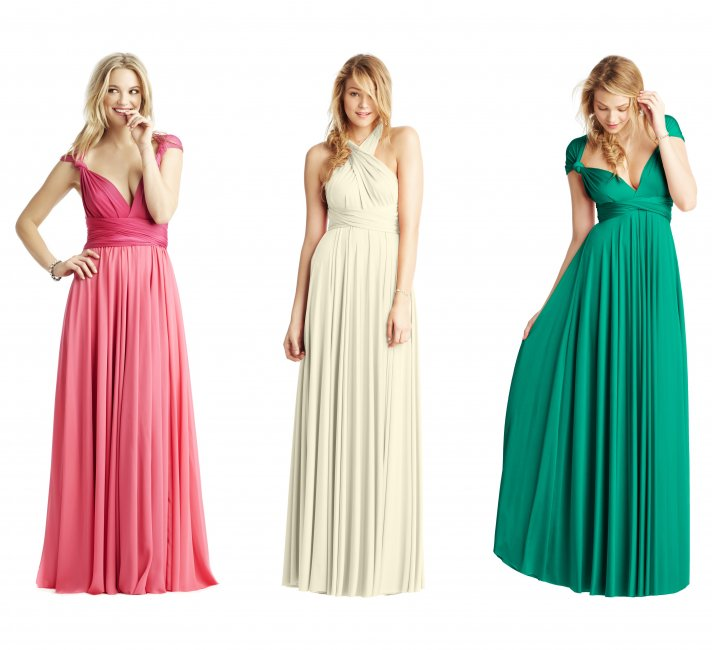 Pink Green Cream Convertible Bridesmaid Gowns