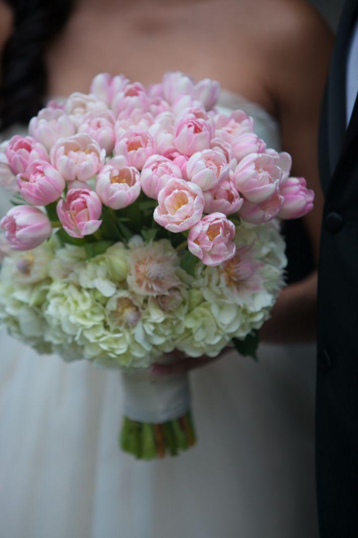 Light pink tulip bridal bouquet