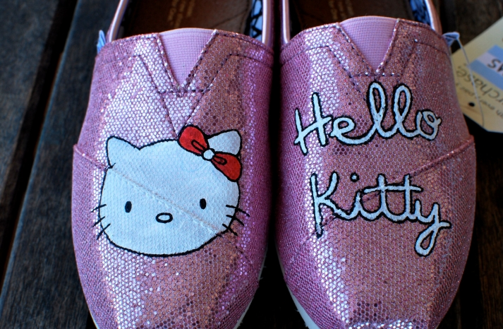Pink sparkly hello kitty toms wedding shoes
