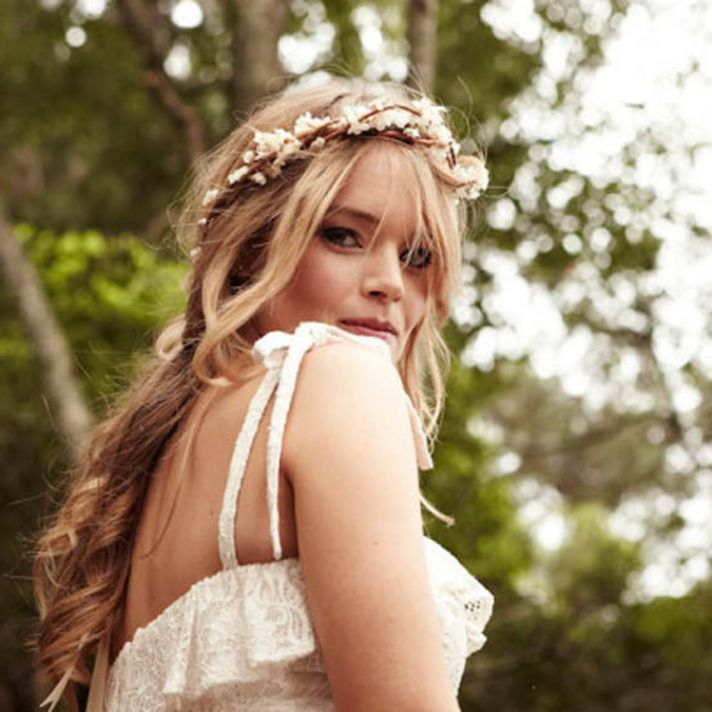 Bohemian bridal headpiece floral crown