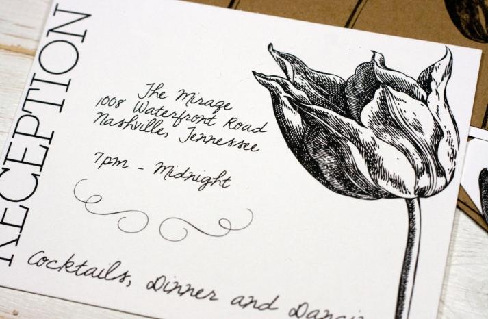 Modern tulip wedding reception card