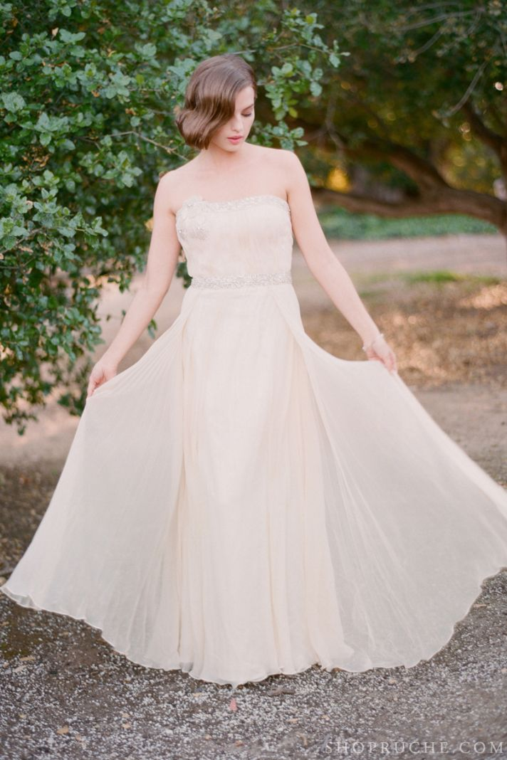 Beige beaded wedding dress