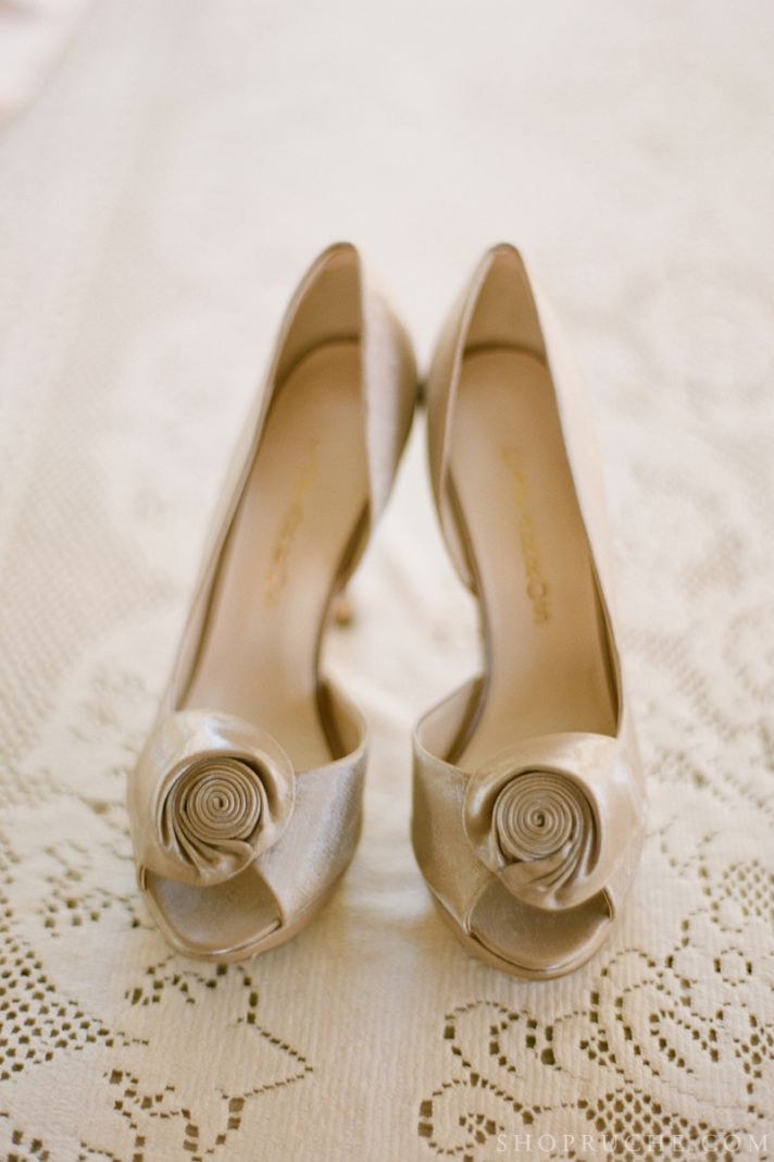 champagne peep toe wedding heels
